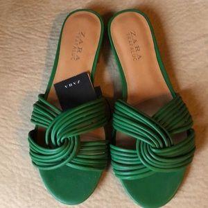 Zara Green slip on sandals